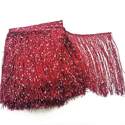AUBERSIT Borlas de Lentejuelas de 10 Yardas 20 cm, Accesorios de borlas de Seda, Materiales de Ropa de Bricolaje, Rojo Vino
