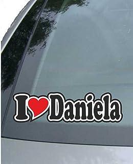 Aufkleber//Autoaufkleber I Love Heart Sticker mit Namen vom Mann Frau Kind Ich Liebe mit Herz 15 cm INDIGOS UG I Love Anja Auto LKW Truck