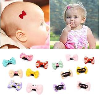 Pinzas para el pelo de bebé, 12 unidades, pequeñas y finas cintas, lazos de grogrén, accesorios para bebés y niñas recién nacidas (colores al azar)