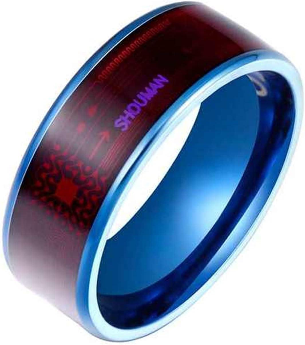 SHAYU Mode Mannen Ring Magie Slijtage NFC Smart Ring Vinger Digitale Ring Voor Android Telefoons Met Functionele Paar Rvs Ring (Color : B, Size : 9)