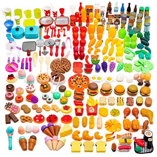 Catchstar Play Food Variety Toy Food Set Durable Pretend Food Toy Colorful Fake Food Set Realistic Plastic Food Playset Gift For Kids Girls Toddler Children Playfood Kitchen With Mesh Bag 340 Piece