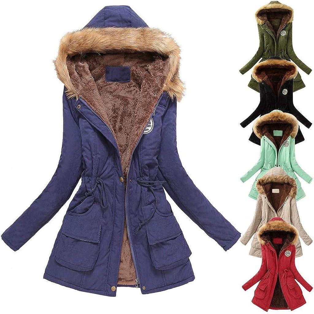 Asalinao Winter Womens Warm Coat Kapuzenjacke Schlanke Winter Outwear Mäntel Army Green