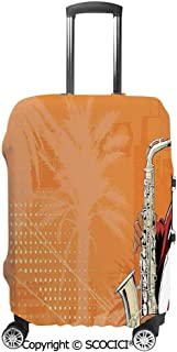SCOCICI Travel Luggage Cover Suitcase Cover Illustration of Saxophone Player on a Background with Palm Trees Print Suitcase Luggage Case Covers Fits 19-32 Inch