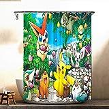 Pok_emon Duschvorhang Anime Merchandise Anime Duschvorhang für Dusche Badezimmer 182,9 x 182,9 cm