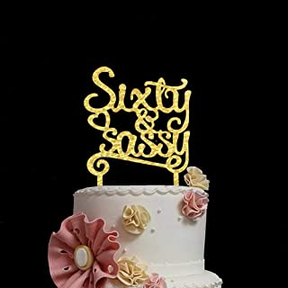 Sixty & Sassy Acrylic Cake Topper Gold 60th Birthday 60 Years Anniversary Party Celebration Cake Decorations