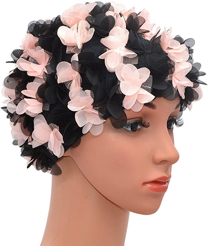 Tea Party Hats – Victorian to 1950s Medifier Lace Vintage Swim Cap Floral Petal Retro Style Bathing Caps for Women Rose $12.89 AT vintagedancer.com