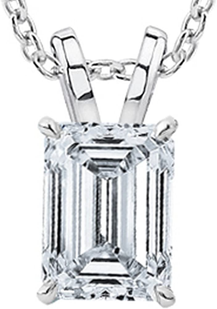 0.52 Carat Emerald Diamond Solitaire Pendant Necklace I Color SI1 Clarity w/ 16