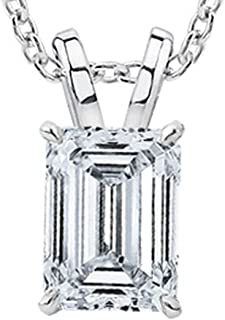 1/2 Carat GIA Certified Solitaire Emerald Cut Diamond Pendant (0.5 Ct I-J Color, VVS1-VVS2 Clarity) w/Gold Chain