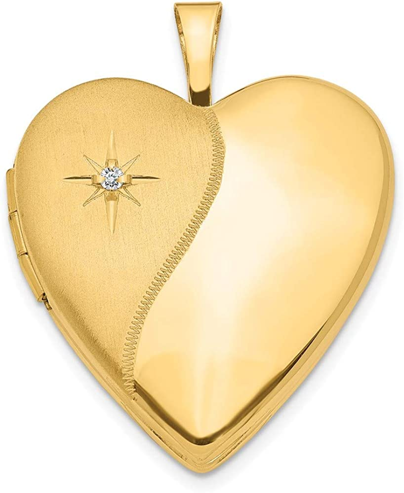 14k Yellow Gold 20mm Diamond Heart Photo Pendant Charm Locket Chain Necklace That Holds Pictures Fine Jewelry For Women Gifts For Her