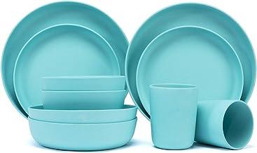 طقم أواني طعام من الخيزران مورجيانا مجموعة أدوات المائدة 10 قطع صديقة للبيئة من ألياف الخيزران والأكواب والأطباق (أزرق أزرق)