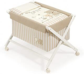 Interbaby Love - Minicuna de madera + textil, color blanco/beige