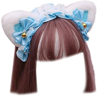Beautiful crown Donne anime lolita cosplay fascia per animali, carino peluche orecchie gatto arruffate nastro di pizzo arr...
