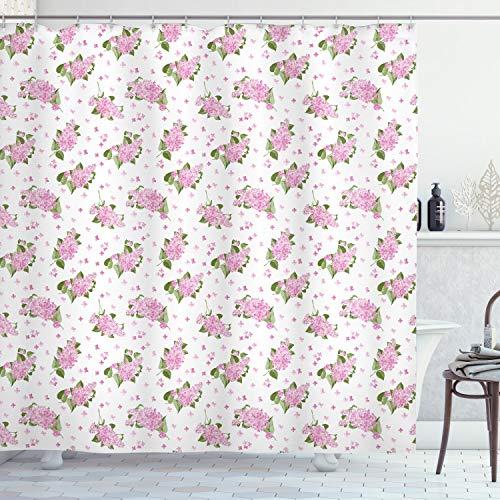 ABAKUHAUS Mauve Duschvorhang, Blumen-Muster-Landhausstil, mit 12 Ringe Set Wasserdicht Stielvoll Modern Farbfest & Schimmel Resistent, 175x200 cm, Grün Rosa