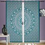 Charoli Enterprises Indian Falances Mandala Colgantes de pared Cortinas decorativas Hippie hechas a mano tapiz tratamiento para ventanas