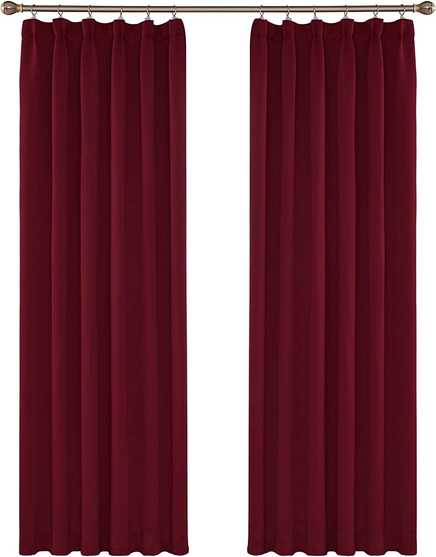 Amazon Brand - Umi Cortinas de Salón Térmicas Aislantes Dormitorio Decoración Ventanas para Habitacion Moderna Fruncido 2 Piezas 132x242cm Rojo Oscuro
