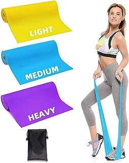 Lambony Bandas Elasticas Fitness Resistencia Banda de Pilates 1.5m de Longitud 3 Piezas Flexibles para Fisioterapia, Pilates, Yoga, Rehabilitación, Estiramiento, Fitness, Entrenamiento de Fuerza