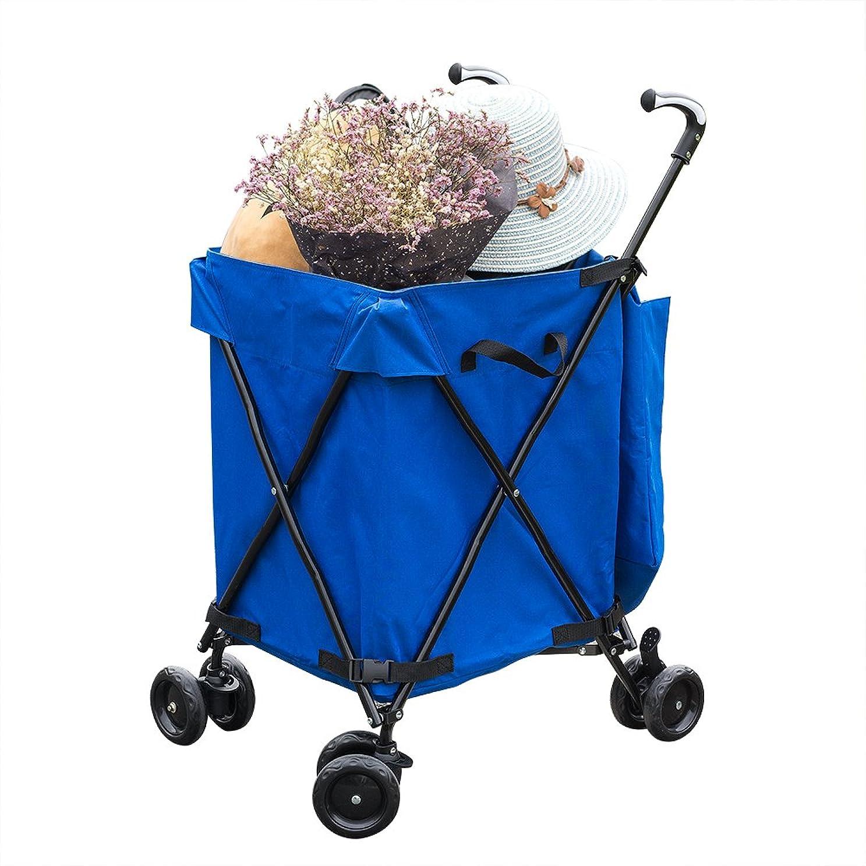 ヘア眉そっとCJMカート(買い物かご折りたたみ多目的スーパー青い+黒)80 kg巨大容量支える力