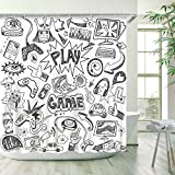 RosieLily Video Games Shower Curtain Boys Kids Funny Graffiti Racing Monitor Device Monochrome Sketch Style Bath Curtain with 12 Hooks 72 inch Shower Curtain Black White