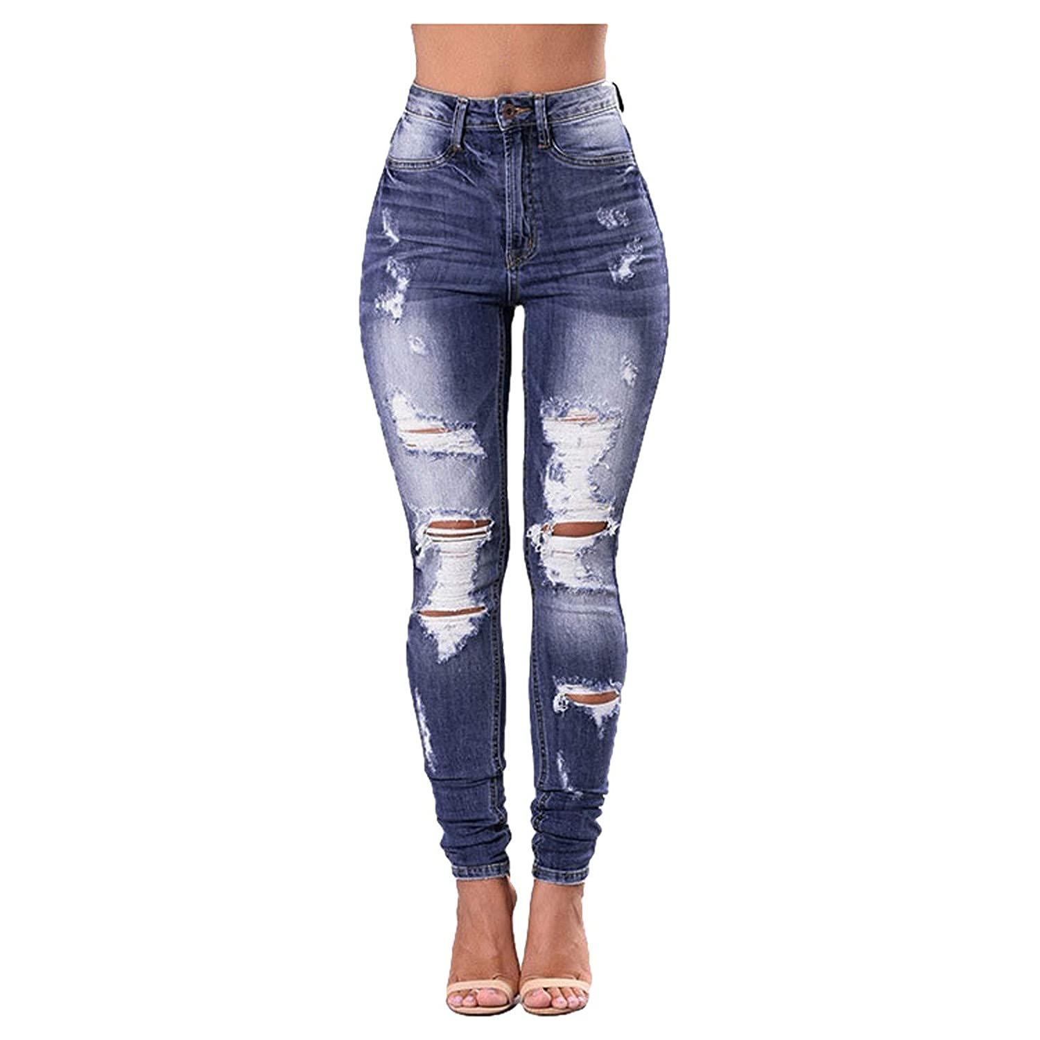 JPOQW Hight Waisted Ripped Jeans D Hole Max 55% OFF Skinny Women Denim Product