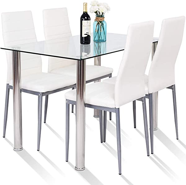 Tangkula 5 PCS Dining Table Set Modern Tempered Glass Top And PVC Leather Chair W 4 Chairs Dining Room Kitchen Furniture White And Silver