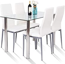 Tangkula 5 PCS Dining Table Set Modern Tempered Glass Top and PVC Leather Chair w/4 Chairs Dining Room Kitchen Furniture (White and Silver)