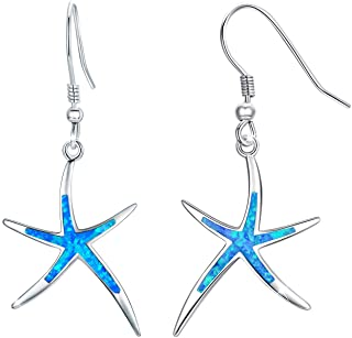 Mermaid Sea Witch Aesthetic Gold and Silver Starfish Dangle Drop Earring Beach Themed Affordable Iridescent Blue Beaded Hippie Boho Chic