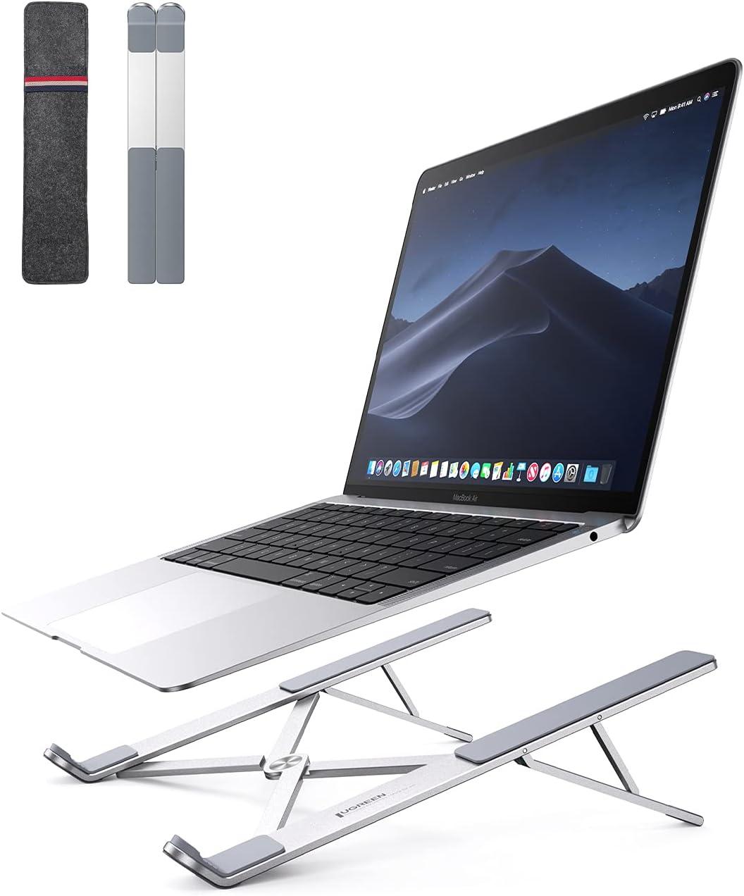 UGREEN Soporte Portátil para Mesa Plegable, Soporte para Ordenador Portátil Altura Ajustable Soporte Ventilado de Aluminio Laptop Stand Compatible con MacBook Air Pro, ASUS HP Surface Lenovo 8-17.3