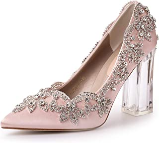 Candy&Liu Women's Crystal Applique Glued Clear High Heel Wedding/Party Pump Shoes