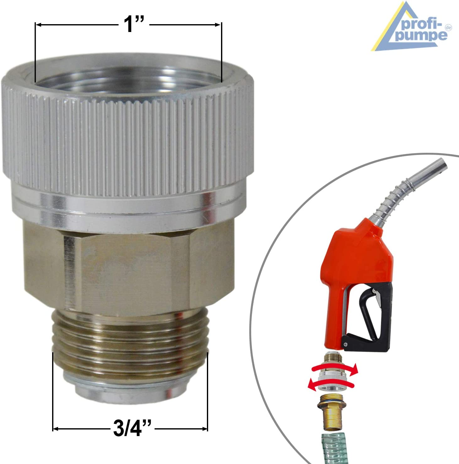 Conexi/ón giratoria para pistola de BOMBA DIESEL Junta giratoria BOMBA COMBUSTIBLE BOMBA GASOLEO conexion giratoria de aluminio