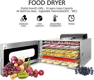 comprar comparacion Novhome Deshidratador de Alimentos Acero Inoxidable 6 bandejas Deshidratador Frutas y Verduras Temperatura 30-90℃ Temporiz...