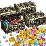 Set de 136 Juguetes de Cofre Tesoro de Pirata, 4 Cajas de Cofre de Tesoro 100 Juguetes de Buceo de Gema Colorida 32 Monedas de Oro Regalo de Fiesta Cumpleaños Genial Relleno de Bolsa Regalo