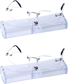 2 Pairs Unisex Rimless Reading Glasses +3.5 (70-74 Years) Super Light(14g) + Case