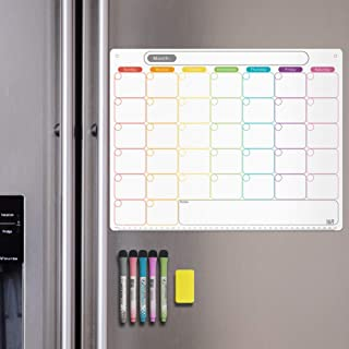 Dry Erase Calendar Kit- Magnetic Calendar for Refrigerator - Monthly Fridge Calendar Whiteboard with Extra-Thick Magnet Included Fine Point Marker & Eraser & Holes for Wall Hanging