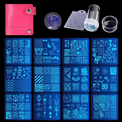 Biutee Nail Stamping Plates Set 12pcs Nail Plates 1stamper 1scraper 1storage bag Nail plate Template Image Plate Stencil Nails Tool (C)