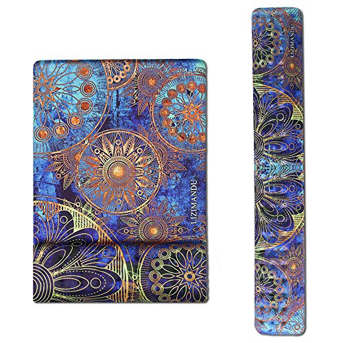 Cheliz Memory Foam Non Slip Mouse Pad Wrist Rest - Durable & Comfortable & Lightweight for Easy Typing & Pain Relief-Ergonomic Support (2-Blue Flower)