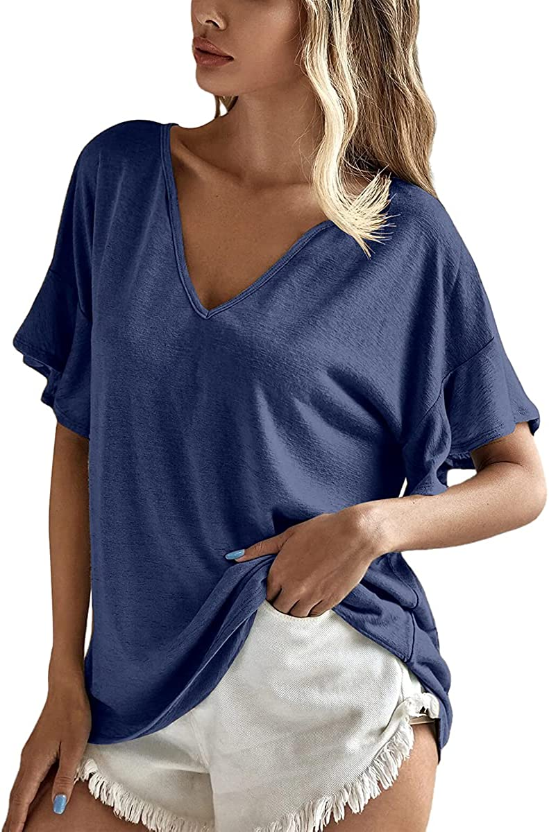 Dyexces Womens V-Neck T Shirts Ruffle Sleeve Tops Solid Color Casual Loose Fit Tunic Tops