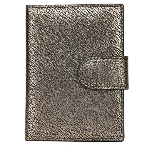 Banuce Italian Leather Passport Cover Card Holder Travel Wallet Color Gold