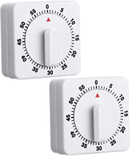 2 Pieces 60 Minute Kitchen Timer 1 Hour Visual Kitchen Clock Timer Mini Countdown Timer Loud Voice, Auto-Off, Mechanical T...