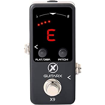 GUITARX X9 - Guitar Pedal Tuner Mini - Chromatic Tuner Pedal with Pitch Calibration and Flat Tuning - Pedal Tuner Bass - Power Supply Required