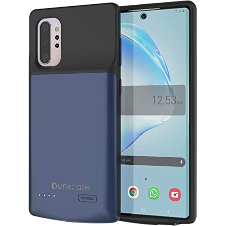 PunkJuice Galaxy Note 10 Plus Battery Case, 6000mAh Fast Charging Extended Power Bank W/Screen Protector   IntelSwitch   Slim, Secure and Reliable Compatible W/Samsung Galaxy Note 10+ Plus [Blue]