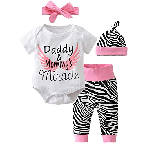 6506cab6e6f3 Scfcloth Newborn Baby Girls Daddy and Mommy s Miracle Romper + Pants + Hat  + Headband 4pcs