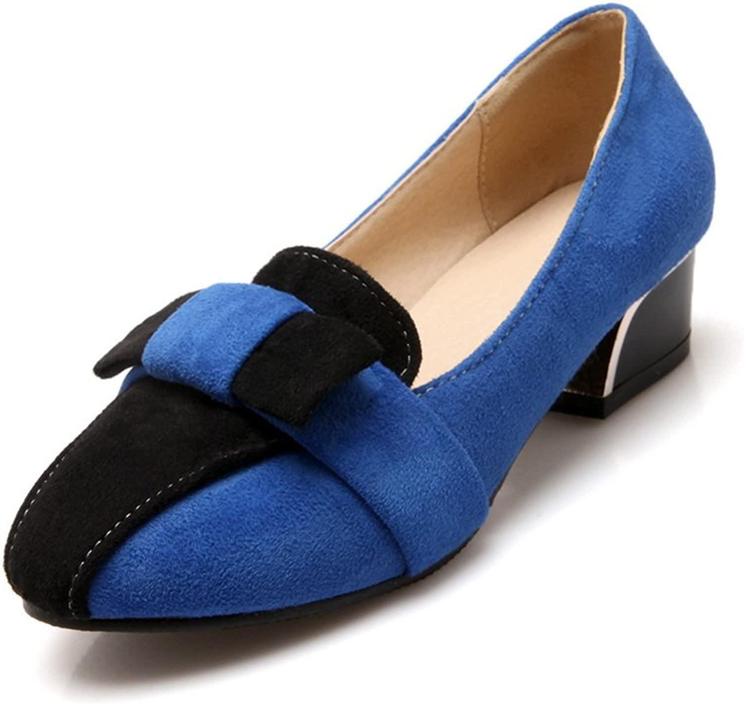 BalaMasa Ladies Bows Two-Toned Chunky Heels Suede Pumps-shoes