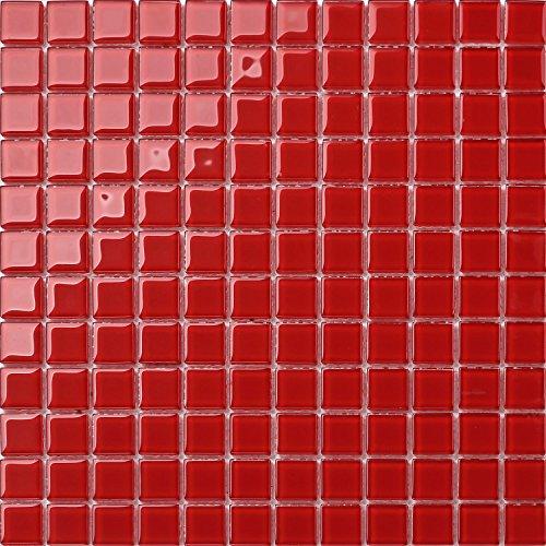 Glas Mosaik Fliesen 30cm x 30cm Matte in Rot (MT0022) für Wände