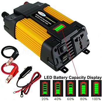 QWERDF 2000W Continuous//4000W Peak Car Power Inverter DC 12//24V To 110//220V AC Solar Power Inverter with LCD Display for Car Home Laptop Truck,1000W
