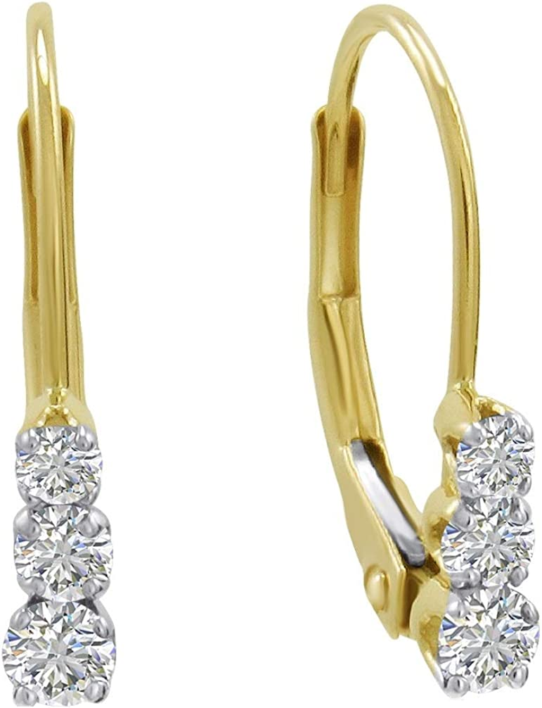 AGS Certified Three-Stone Diamond Leverback Earrings 1/4cttw (G-H, I1-I2) in 10K Gold