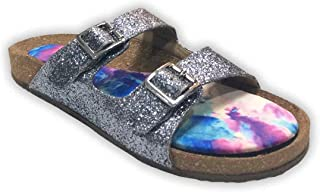 Colour Me Mad Grey Glitter, Natural Cork, Washable, All Weather, Vegan, Made in India, PETA Certified, Women Sandals (Slider)