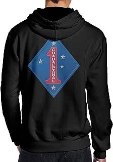 USMC US Marine Corps 1st Marine Division Classic Sweatshirts Pullover Hoodie Sweatshirt Long Sleeve Hooded Sweatshirt