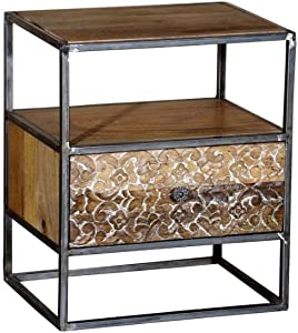 Priti Wooden Table Night Stand with Drawer