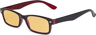Eyekepper Blue Light Blocking Computer Glasses with Amber Tinted Filter Lens Women Men - Vintage Eyeglasses - Black Red