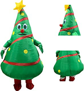 Inflatable Christmas Tree Costume,Christmas Inflatable Blow Up Costume Fancy Dress Costume Clothes Masquerade Costume Body Suit for Adult Christmas Holiday Cosplay Party Parade Birthday
